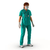 Ärztinganzaufnahme auf weißer Illustration 3D Stockfotografie