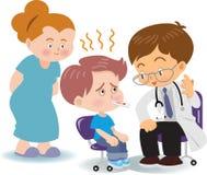 Ärztliche Untersuchung des Fiebers mit Jungen vektor abbildung