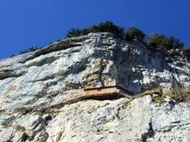 "Ã""scher cliff or Ã""scher-Felsen Aescher-Felsen or Ascher-Felsen in the Alpstein mountain range and in the Appenzellerland region. Canton of Appenzell stock photography"