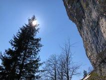 "Ã""scher cliff or Ã""scher-Felsen Aescher-Felsen or Ascher-Felsen in the Alpstein mountain range and in the Appenzellerland region. Canton of Appenzell royalty free stock images"