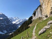 "Ã""scher cliff or Ã""scher-Felsen Aescher-Felsen or Ascher-Felsen in the Alpstein mountain range and in the Appenzellerland region. Canton of Appenzell royalty free stock photos"