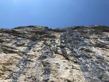 "Ã""scher cliff or Ã""scher-Felsen Aescher-Felsen or Ascher-Felsen in the Alpstein mountain range and in the Appenzellerland region. Canton of Appenzell stock images"