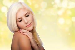 Ästhetikschönheit Gesichts-skincare Konzept-Frauengesicht stockfotos