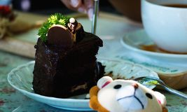 Äta chokladkakan med skeden fotografering för bildbyråer