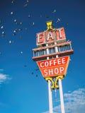 Äta coffee shoptecknet arkivbilder