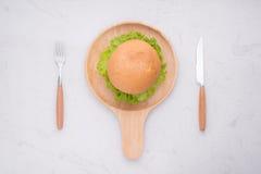 Äta den läckra hemlagade hamburgaren på tabellen Bästa sikt, kopieringsutrymme, royaltyfri fotografi