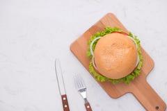 Äta den läckra hemlagade hamburgaren på tabellen Bästa sikt, kopieringsutrymme, fotografering för bildbyråer