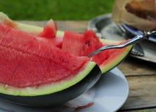 Äta den nya cuted vattenmelon i trädgården Royaltyfria Foton