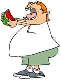 äta den saftiga vattenmelonen Arkivfoton