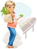 äta den sunda gravid kvinna royaltyfri illustrationer
