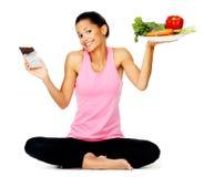 äta den sunda kvinnan royaltyfri foto