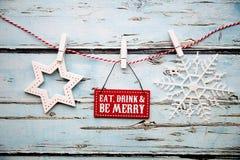 Äta drinken och var det glade tecknet fotografering för bildbyråer