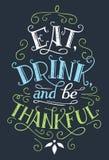 Äta, drinken och var det tacksamma hem- dekortecknet stock illustrationer