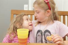 Äta för flickor Fotografering för Bildbyråer