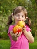 Äta för liten flicka äpplen Royaltyfri Foto