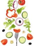 Äta fallande grön sallad med gaffeln, tomater och gurkan arkivbilder