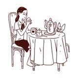 äta flickasmörgåsen Royaltyfria Bilder