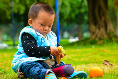 Äta frukt är som bidrar till till baby'sens tillväxt Royaltyfria Bilder