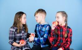 Äta frukt och att vara sunt Främja sund näring Pojken och flickavänner äter äpplet Tonår med det sunda mellanmålet grupp royaltyfria foton