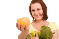 äta grönsakkvinnan Royaltyfria Bilder