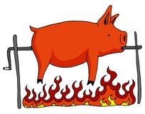 äta grillat klart för pig spotta stock illustrationer
