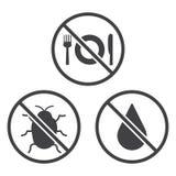 Äta inte, bugga och blöta symboler Arkivbilder