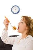 äta kvinnabarn Arkivfoto