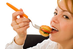 äta kvinnabarn Royaltyfri Foto