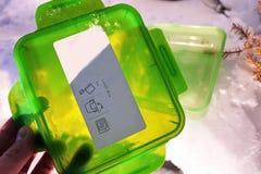 Äta lunch asken för mat, smörgåsar och mellanmål Passande för arbete, lopp och fotvandradet fria arkivbilder