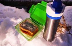 Äta lunch asken för mat, smörgåsar och mellanmål Passande för arbete, lopp och fotvandradet fria fotografering för bildbyråer