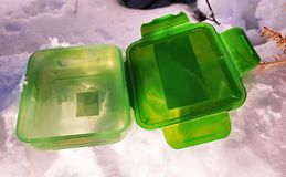 Äta lunch asken för mat, smörgåsar och mellanmål Passande för arbete, lopp och fotvandradet fria arkivbild