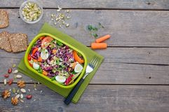 Äta lunch asken med grönsaksallad på lantlig träbakgrund med tomt utrymme för text royaltyfri fotografi
