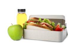 Äta lunch asken med sund mat för skolbarn arkivfoton