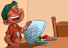 äta lunch för pojke royaltyfri illustrationer