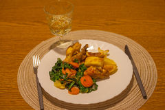 Äta lunch med höna, lökar, morötter, spenat arkivfoto