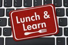 Äta lunch och lär tecknet stock illustrationer