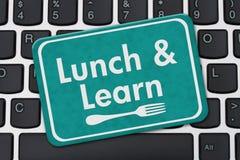 Äta lunch och lär tecknet royaltyfri illustrationer