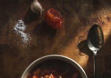 Äta lunch rysk kålsoppa, vitlök som är salt på en trätabell Arkivbilder