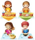 Äta mat stock illustrationer