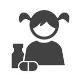 Äta medicin stock illustrationer