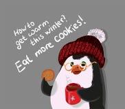 Äta mer kakor, pingvinvektorillustration, hur man får varmt denna vinter vektor illustrationer