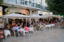 Äta middag Al Fresco, Restouradores, Lissabon, Tom Wurl Arkivbilder