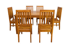 Äta middag den isolerade tabellen och stolar royaltyfri foto
