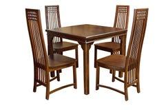 Äta middag den isolerade tabellen och stolar royaltyfri fotografi