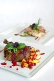 äta middag fina målplattor Royaltyfria Bilder