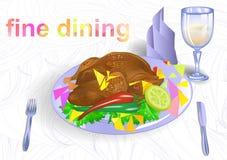 äta middag fine royaltyfri illustrationer