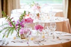 äta middag fine inställt tabellbröllop Fotografering för Bildbyråer