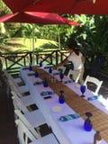 Äta middag i Jamaica Arkivfoton