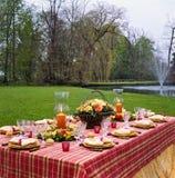 Äta middag iklädd lantlig plats för tabell Royaltyfri Foto