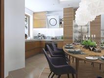 Äta middag kökdesign i en modern stil med en äta middag tabell och Arkivfoto